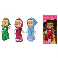 Masha and the bear: Masha papusa in rochie colorata - Simba Toys