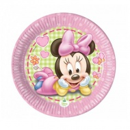 Baby Minnie Mouse party hârtie farfurie 20 cm set 8 bucăţi
