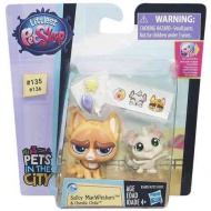 Littlest Pet Shop - Pets in The City: Sulky MacWhiskers şi Chenille Chilla figurine - Hasbro